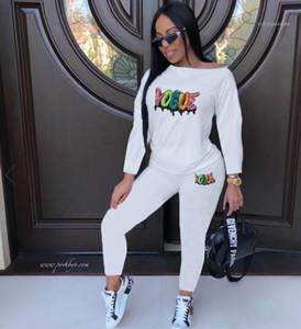 2pcs Calças letra impressa Sports Set Sequins Womens Casual Mulheres Designer Macacão masculinos Roupa de outono