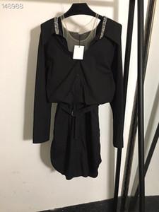 Tek Breasted Beyaz / Siyah Milan Pist Elbise 2020 Tasarımcı Kadınlar High End Yaka Boyun Bel Elastik Bant Mesh elmas Yaka Gömlek Elbise