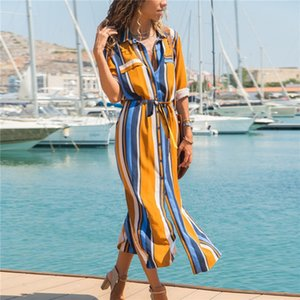 new Trendy Women dress long sleeve striped turn-down collar Summer Casual Evening Beach cotton Dresses one pieces free shipping Q2