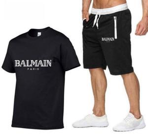 Marque Hommes T-shirt + Short Summer Set à manches courtes Survêtement de sport Gymnases Casual Male 2 Sport Piece course survêtements Taille M-2XL