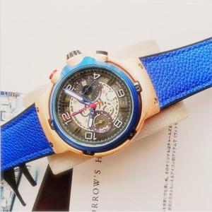 고품질 남성 전체 기능 시계 가죽 해골 시계 해골 스포츠 석영 중공 손목 시계 선물