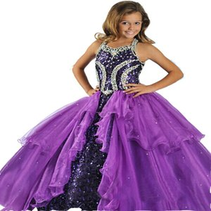 New style Luxury Factory direct sale Color diamond Ball Gown Organza Paillette Sweetheart Wedding flower girl Girls Pageant Dresses