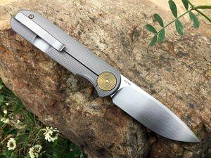 US LOCAL SHIPPING ! GARETH BULL SHAMWARI KNIVES FRONT FLIPPER M390 BLADES GOLD ANODIZED TITANIUM POVIT HANDLE POCKET OUTDOOR TACTICAL KNIFE