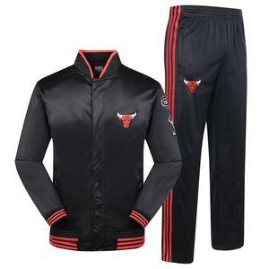 Survêtement pour hommes Survêtements de sport Costumes Équipe de basket-ball brodé Pantalon de survêtement avec bouton Polyester Slim Running Suit Vêtements de plein air Automne