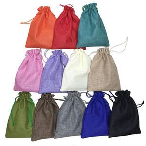 15 * 20cm 50pcs 12 색 수제 황마 Drawstring 가방 파우치 삼 베의 웨딩 파티 크리스마스 선물 가방 보석 파우치 포장 가방