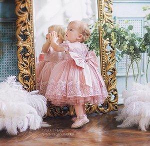 2020 Blush Pink Lace цветок девочки платья чай длины тюль Маленькая девочка Свадебные платья Дешевые причастия Pageant платья платья