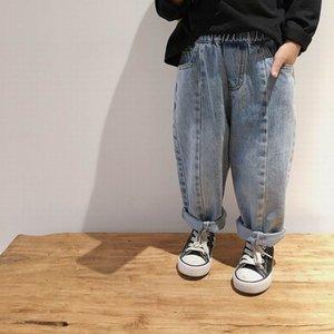 Venta al por mayor ocasional de nabo otoño del resorte del bebé de Corea Jeans Denim flojo pantalones largos pantalones ropa de los niños 1-7Y E20021