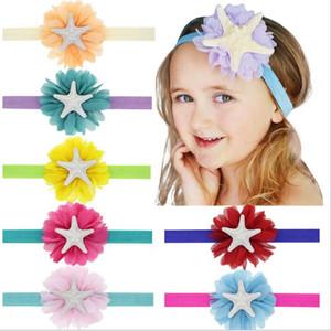 accessori per capelli del bambino del fiore Mermaid fascia Ragazze fascia Starfish Bambino Festival fascia Newborn Sea puntello della foto del partito