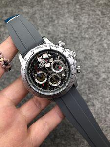 10 Farbe Luxusuhr Vk Chronograph Herrenuhr japanische Quarz-Gummi-Bügel-Sport Herrenuhr Alles Funktions Arbeit orologio di Lusso