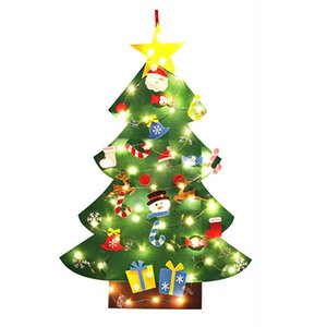 3.2Ft Creative Felt Christmas Tree with 26 Pcs Ornaments Christmas Wall Hanging Decor Christmas Decorations Xmas Gifts with Ligh