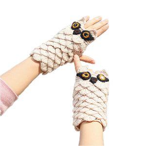Designer Gloves Fingerless Gloves Women Warm Winter Gloves Knitting Wool Thickening Jacquard Weave Korean Edition Owl Cartoon Beige