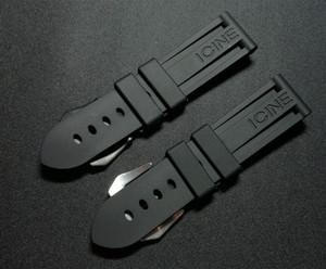 Top Qualität 22mm 24mm 26mm schwarze wasserdichte Silikon-Gummi-Armband-Uhrenarmband für Panerai Band für PAM111 Buckle Logo Werkzeuge CJ191225
