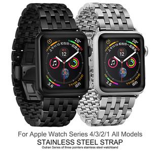 venta al por mayor Banda de reloj para Apple Watch 40mm 44mm Banda de reloj de metal con hebilla de mariposa iWatch Correa para la serie 4 3 2 1