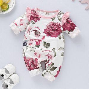 Şık 0-18 ay Crewneck Uzun Kollu Yenidoğan Romper Sonbahar Kış Pembe Çiçek Bebek Romper Bebek Kız Erkek Jumpsuit
