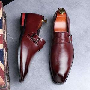 Горячие продажи-платье обувь черных британский дизайнер площади Toe Монка Пряжка ремешок Управление Карьера Обувь
