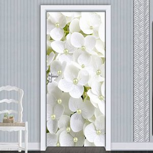 2Pcs set PVC Self-adhesive 3D Removable Door Sticker White Flower Pearl Wallpaper Living Room Door Decor 3D Decal Wall Sticker
