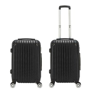 "20"" Expandable ABS Carry On Lage Travel Bag Trolley Suitcase Black"