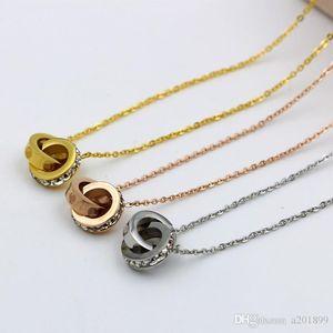 2018 LIEBE Dual-Circle Anhänger Rose Gold-Silber-Farben-Halskette für Frauen-Weinlese-Kragen-Modeschmuck