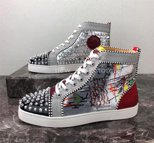 2019 Designer di lusso Fondo rosso borchiato Spikes Uomo Donna Scarpe casual Fashion Insider Sneakers Nero Rosso Stivali in pelle bianca