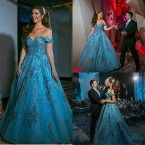 Blue Sequins Evening Dresses Elegant Off Shoulder Lace Appliques A Line Prom Dress Short Sleeve Long Fornal Party Gowns