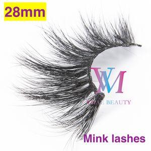Vmae 28mm Mink Lashes Super Long Fluffy Handgemachte Makeup sibirischen Nerz Haar reizvolle weiche natürliche starke Gewirr 3D 5D 6D Mink Wimpern