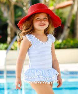 Sevimli Çocuk Kız Yaz Kolsuz Bikini Yeni Yenidoğan Bebek Kız Çizgili Bikini Yaz Püskül Topu Mayo Mayo Plaj