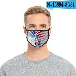 36styles 3D US Flag Mask American Independence Day Maschera maschere antipolvere lavabile 2020 Bocca calotta di protezione Modo GGA3511-8