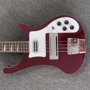 Бесплатная доставка шеи через тело пользовательские RIC 4 строки красное вино 4003 электрическая бас-гитара хром оборудование, треугольник швабра накладка, двойной O
