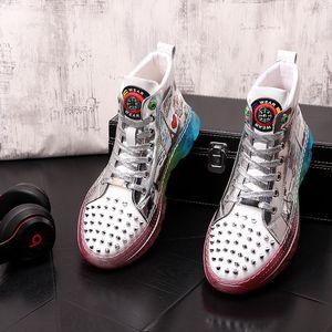 New Men designer shoes trendsetter rivet graffiti jelly platform Casual high-top Flats Man Rock Loafers Sneakers zapatos hombre