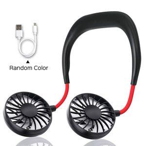 USB Rechargeable Fan Wearable Portable Hand Free Neckband Fan Portable Mini Neck Double Fans For Home Office Sport Running