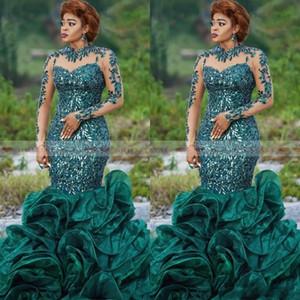 Новые охотничьи зеленые блестки аппликация с длинным рукавом платья выпускного вечера русалка плюс размер много оборками длинные африканские вечерние платья vestido de noche