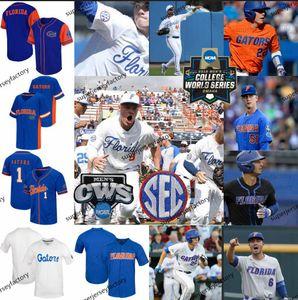 2020 Florida Gators Baseball 51 Brady Singer 20 Pete Alonso 6 Jonathan Índia NCAA CWS Jerseys Branco Laranja Azul Black Qualquer Número Nome