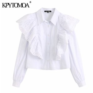 KPYTOMOA Donne 2020 Moda Elegante Increspato Bianco Camicette Vintage Manica Lunga Cutwork Ricamo Camicie Femminili Blusas chic top