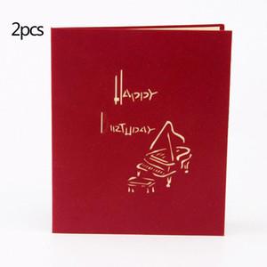 2pcs Red 3D Up Greeting Card Musica Piano del modello della carta di scultura della cartolina d'auguri romantica di compleanno di Natale Carte Aniversary
