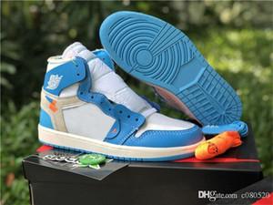 2020 En Yeni Otantik Sneakers 1 Presto OG Kanarya Sarı Beyaz Bred Chicago UNC Powder Blue 1S Erkek Basketbol Ayakkabı Kadınlar ile Kutusu