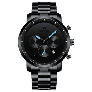 Megalith Watch Moda para homens luxo ostenta Chronograph Mens Relógios Waterproof Pulso Relógios Masculino Relógio Relógio Masculino