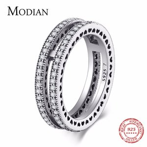 Modian Luxury New Style Classic Real 925 Sterling Silver Hearts Ring Amor Apilable Dedo Joyería Instagram Para Mujeres Regalo J190716
