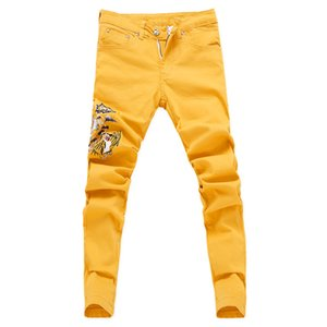 2019 New Fashion Jeans Flower Floral Men Hip Hop Summer Green Pink Skinny Stretch Jeans for Men