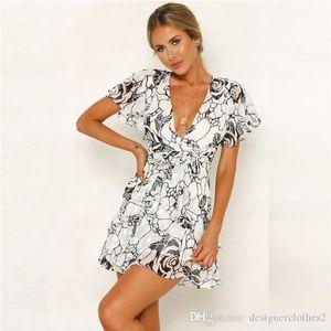 Leopard Print Flutter Sleeve Bohemian Dresses Designer Sashes Zipper Summer Beach Short Dresses Fashion Flora Dresses