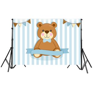 Our Little Man Baby Shower Bear Party Backdrop Vertical Stripes Newborn Background Banner Vinyl Photo Booth Prop