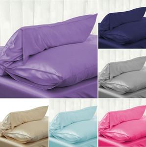 1PC 51 * 76cm de lujo satén sedoso funda de almohada almohada cubierta del color sólido de la funda de almohada estándar