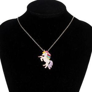 Animal Rhinestone Pendants Designer Luxury With Jewelry Women Necklace Crystal Link Horse Necklaces Girls Anime Charm Unicorn Diamond C Sisv