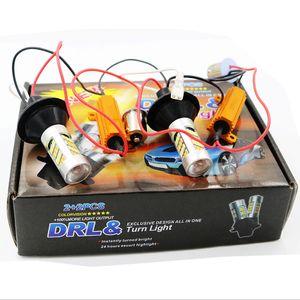 2X di alta qualità 1 set 1156 P21W BA15S 2835 42SMD ambra / bianco 42 LED lampadine di commutazione LED S25 DRL Indicatore di direzione 12V 12V doppio colore