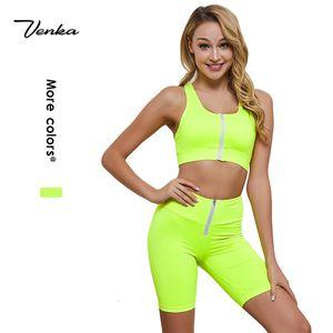 On Sale Two Piece Short Set Women clothing Inside Padded Zipper Sports Bra And Pants Biker Short Sets