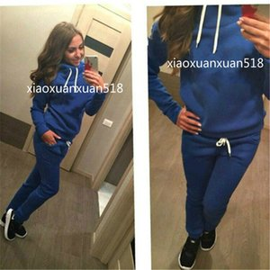 Nouveau Femmes actives Ensemble Survêtements Sweats à capuche Sweat-shirt + pantalon Courir Costumes Sport Track 2 Pieces Jogging Survetement Ensembles Vêtements Femme