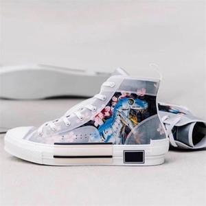 Haut-top B23 Oblique Sneaker Hommes Femmes Mode Motif lacets Chaussures de course de basket-ball de haute qualité Chaussures Casual avec Box US 4-11