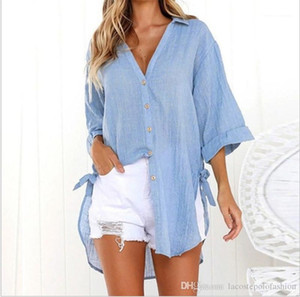 Sleeve Shirt Fashion Irregular Hem Button V Neck Casual Shirt Ladies Autumn Tops Designer Womens Long