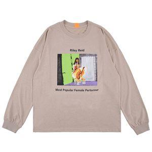 Dark Icon Round Neck Street Camiseta de hombre Manga larga 2019 Nueva moda Hip Hop Camisetas Algodón Camiseta Caqui