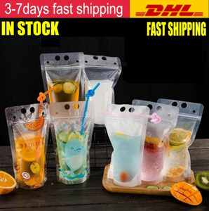 DHL Ship 1000pcs Clear Drink Pouches Bags frosted Zipper Stand-up Plastic Drinking Bag with straw with holder Reclosable Heat-Proof FY4061