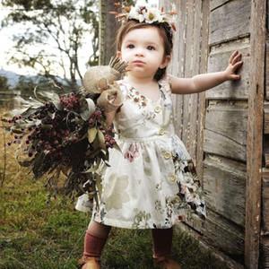 1-6Years Floral Bebê Roupa Das Meninas Criança Crianças Vestido Botão Bonito Da Princesa Sem Mangas Menina Vestido de Festa Pageant Tutu Vestidos